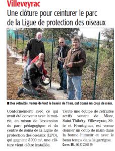 Clôture extension terrain CRCFS_Midi Libre_01.03.15